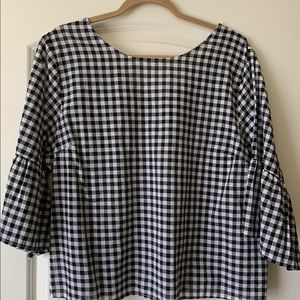 Black and white checker peasant top